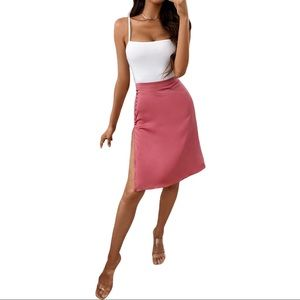 NWT - STRAP CROP TOP + SATIN BUTTONED HIGH SLIT MIDI SKIRT SET by ChicMe